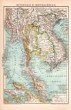 Hinterindien Karte Lithographie 1899 Original der Zeit