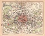 Paris Umgebung Lithographie 1899 Original der Zeit
