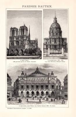 Pariser Bauten Holzstich 1891 Original der Zeit