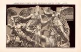 Athena Zeusaltar Pergamon Chromolithographie 1891...