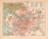 St. Petersburg Stadtplan Lithographie 1899 Original der Zeit