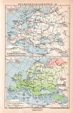 Pflanzengeographie II. Karte Lithographie 1899 Original...