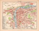 Prag Stadtplan Lithographie 1899 Original der Zeit