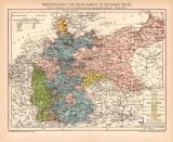 Rechtsgebiete Deutsches Reich Karte Lithographie 1894...