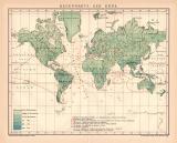 Erde Regenkarte Karte Lithographie 1891 Original der Zeit