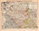 Rheinprovinz Westfalen Hessen I. Karte Lithographie 1899...