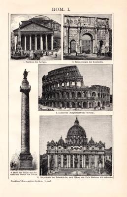 Rom I. Holzstich 1891 Original der Zeit
