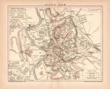 Altes Rom Karte Lithographie 1899 Original der Zeit