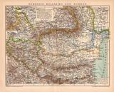 Rumänien Bulgarien Serbien Karte Lithographie 1899...