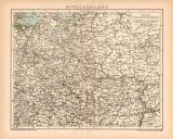 Mittelrussland Karte Lithographie 1900 Original der Zeit