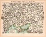 Südrussland Krim Taurien Karte Lithographie 1900...