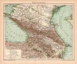 Kaukasien Karte Lithographie 1900 Original der Zeit