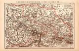Köngreich Sachsen Ost Karte Lithographie 1900...