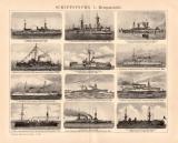 Schiffstypen I. Kriegsschiffe Holzstich 1898 Original der...