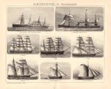 Schiffstypen II. Handelsschiffe Holzstich 1891 Original...