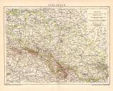 Schlesien Karte Lithographie 1899 Original der Zeit