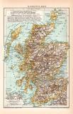 Schottland Karte Lithographie 1899 Original der Zeit