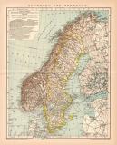 Schweden & Norwegen Karte Lithographie 1900 Original...