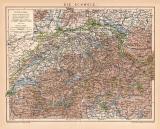 Schweiz Karte Lithographie 1900 Original der Zeit