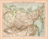 Sibirien I. Karte Lithographie 1899 Original der Zeit