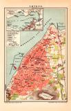 Smyrna Stadtplan Lithographie 1900 Original der Zeit
