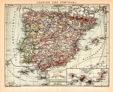Spanien und Portugal Karte Lithographie 1900 Original der...
