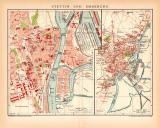 Stettin und Umgebung Stadtplan Lithographie 1899 Original...