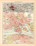 Stockholm Stadtplan Lithographie 1899 Original der Zeit
