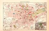 Stuttgart Stadtplan Lithographie 1892 Original der Zeit