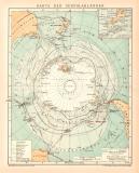 Südpolarländer Karte Lithographie 1899 Original...