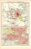 Sydney Stadtplan Lithographie 1899 Original der Zeit