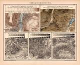 Terrainzeichnungen Kartographie Lithographie 1891...