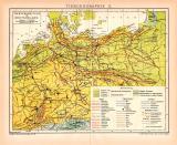 Tiergeographie II. Deutschland Karte Lithographie 1899...