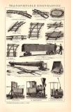 Transportable Eisenbahnen Holzstich 1891 Original der Zeit