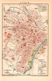Turin Stadtplan Lithographie 1899 Original der Zeit