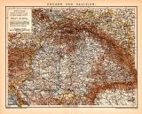 Ungarn & Galizien Karte Lithographie 1900 Original...