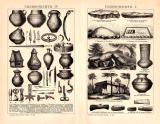 Urgeschichte I. - IV. Holzstich 1891 Original der Zeit