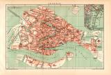 Venedig Stadtplan Lithographie 1899 Original der Zeit