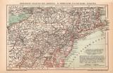 USA Nördlicher Teil Karte Lithographie 1899 Original...