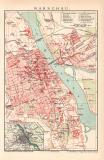 Warschau Stadtplan Lithographie 1899 Original der Zeit