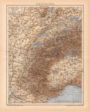 Westalpen Karte Lithographie 1900 Original der Zeit