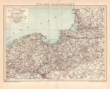 Ost und Westpreussen Karte Lithographie 1900 Original der...