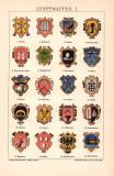 Zunftwappen I. Chromolithographie 1891 Original der Zeit