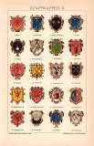 Zunftwappen II. Chromolithographie 1891 Original der Zeit