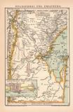 Delagoabai Karte Lithographie 1892 Original der Zeit