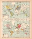 Deutscher Welthandel Karte Lithographie 1895 Original der...