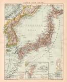 Japan & Korea Karte Lithographie 1900 Original der Zeit