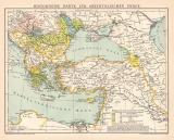 Orient historische Karte Lithographie 1891 Original der Zeit