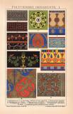 Polychrome Ornamente I. Chromolithographie 1891 Original...