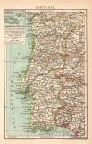 Portugal Karte Lithographie 1899 Original der Zeit